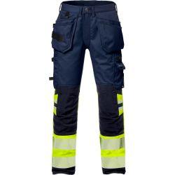Fristads 2706 PLU High vis rakentajan stretch housut LK1 keltainen/sininen D104