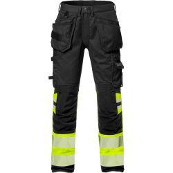 Fristads 2706 PLU High vis rakentajan stretch housut LK1 keltainen/musta C46