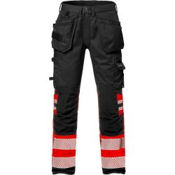 Fristads 2706 PLU High vis rakentajan stretch housut LK1 punainen/musta C154