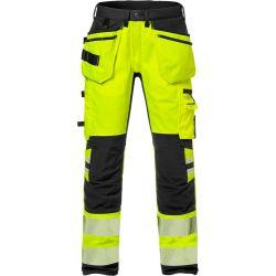 Fristads 2707 PLU High vis rakentajan stretch housut LK2 keltainen/musta C152