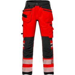 Fristads 2707 PLU High vis rakentajan stretch housut LK2 punainen/musta C62