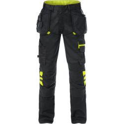 Fristads 2595 STFP rakentajan housut musta/keltainen C62