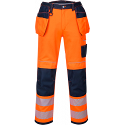 Portwest T501 Hi-Vis riipputaskuhousut oranssi/sininen 30/C46
