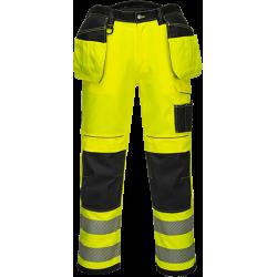 Portwest T501 Hi-Vis riipputaskuhousut lyhyt lahje keltainen/musta 28/44