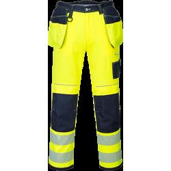 Portwest T501 Hi-Vis riipputaskuhousut lyhyt lahje keltainen/sin 28/44